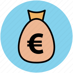 euro sign, finance, investment, money pouch, money sack, saving icon