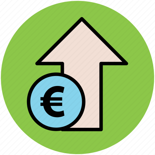 cost, currency value, euro up, market value, stock market, up arrow icon