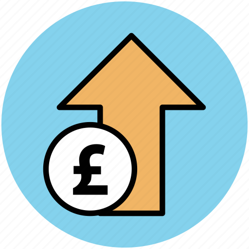 cost, currency value, market value, pound up, stock market, up arrow icon