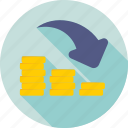 business loss, coins, decreasing, deficit, loss icon