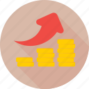 arrow, business growth, coins, growth arrow, profit growth icon