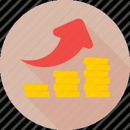 arrow, business growth, coins, growth arrow, profit growth icon