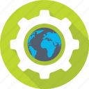 cog, connection, earth, gear, globe icon