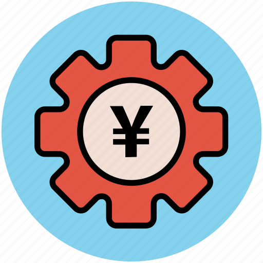 business tools, economy indication, gear, investment plan, money plan, yen sign icon