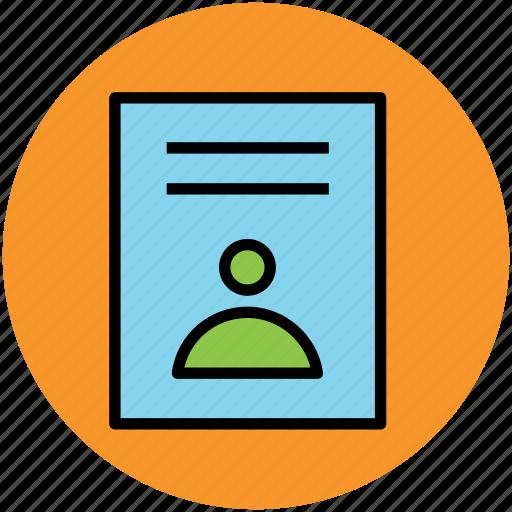 curriculum vitae, cv, personal document icon