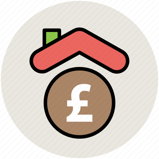 bank, finance, house, insurance, pound sign icon