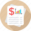 business report, dollar, graph paper, graph report, stock report icon