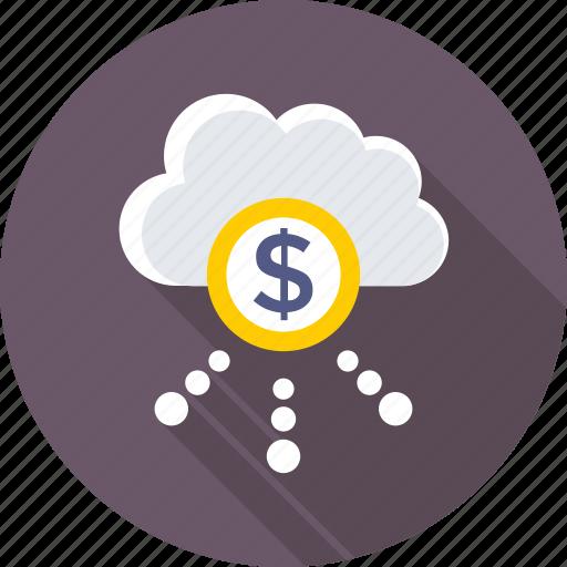 dollar cloud, online business, online money, online work, web business icon