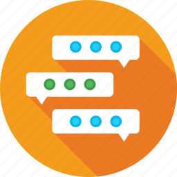 chatting, communication, discussing, speech bubble, talking icon