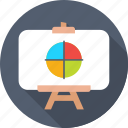 business presentation, chalkboard, easel, graph presentation, presentation board icon