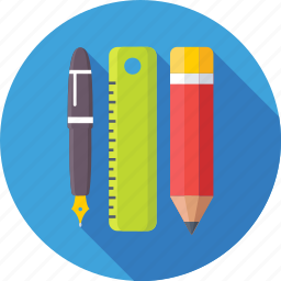 draft tool, pen, pencil, ruler, scale icon