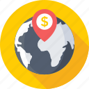 bank location, globe, location marker, map locator, map pointer icon