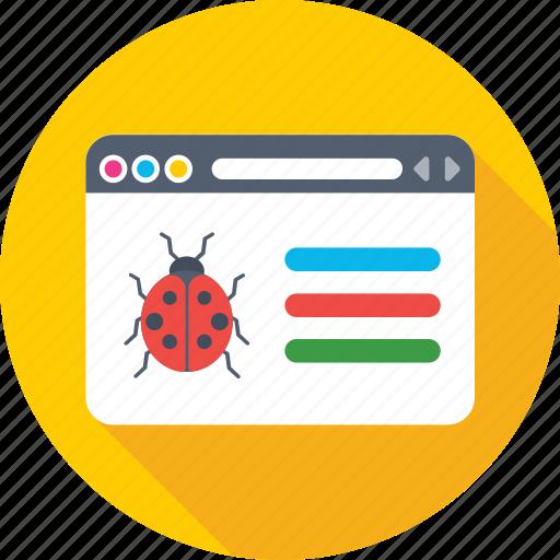 bug, insect, ladybird, web error, webpage icon