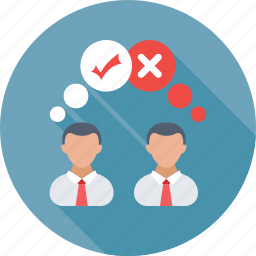 collaboration, communication, opinion, right, wrong icon
