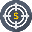 business target, dollar, focus, selector, targeting icon