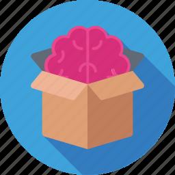 box, brain, creative mind, idea, idea develop icon