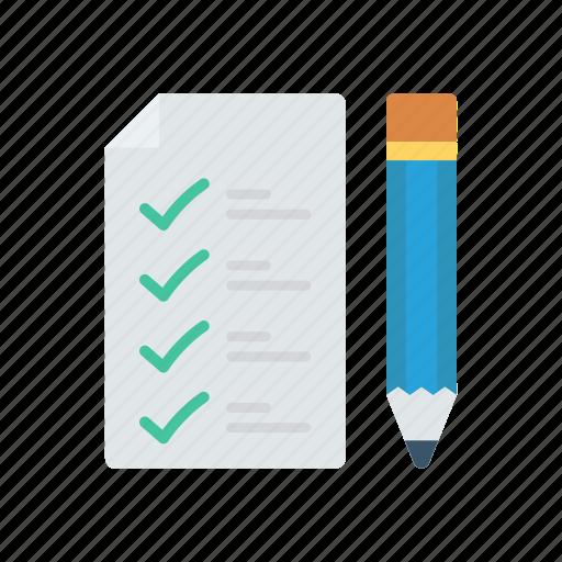 checklist, clipboard, notepad, pencil icon