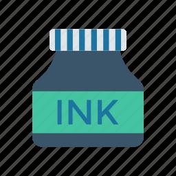 bottle, ink, stationery, writing icon