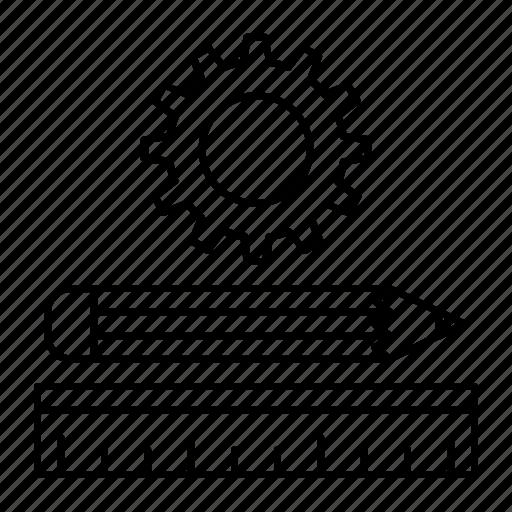 pen, pencil, ruler, setting icon