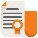 badge, business, certificate, file icon