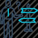 arrow, career, decision, direction, move icon