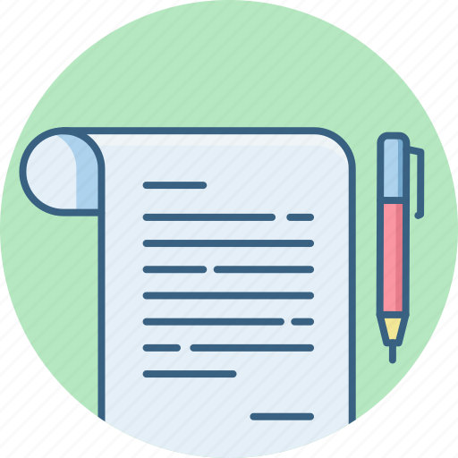 document, office, page, paper, pen, receipt, sign icon