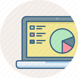 analysis, analytics, diagram, graph, laptop, report icon