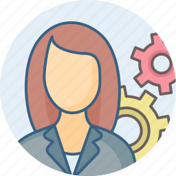 control, gear, options, power, settings, woman icon