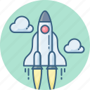 astronomy, launch, planet, rocket, space, spaceship, startup icon