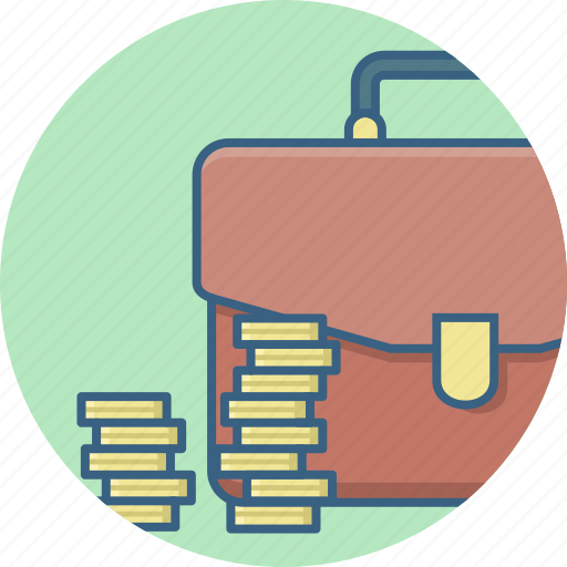 bag, business, cash, coins, finance, money, office icon