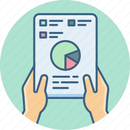 analysis, business, chart, diagram, graph, report, tablet icon