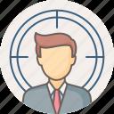 focus, man, person, target, business, user