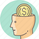 brain, business, dollar, man, minded, money, office icon