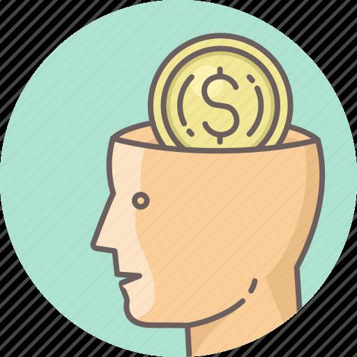 brain, business, dollar, man, minded, money, office icon