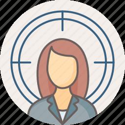 female, focus, girl, target, user, woman icon