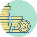 bank, coins, currency, dollar, finance, money, payment icon