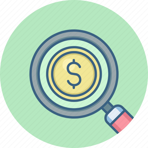 business, currency, dollar, finance, magnifier, money, search icon