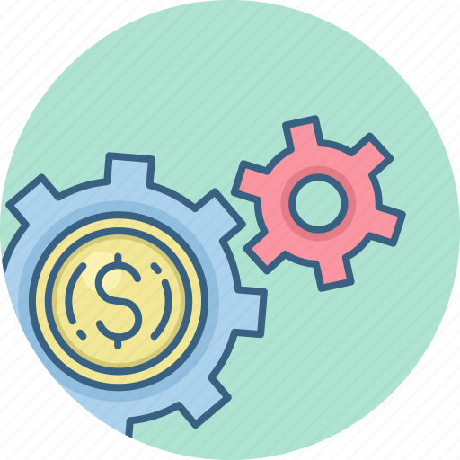 business, control, dollar, finance, gear, money, options icon