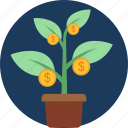 growth, income, money, plant, profit, revenue icon