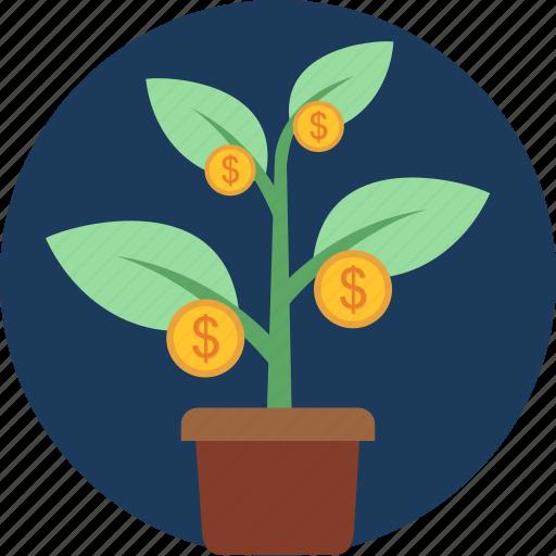 growth, income, money, plant, profit, revenue icon
