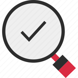 approved, check, glass, good, magnifying, mark, ok icon