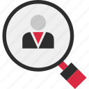 boss, glass, magnifying, profile, staff, user icon