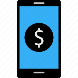 business, cell, data, dollar, money, online, phone icon