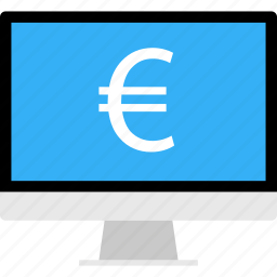 business, data, euro, money, online, sign icon