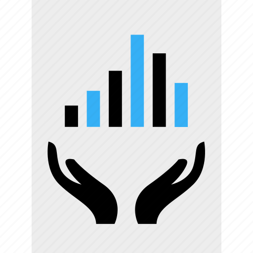 analytics, bars, business, data, hands, money, online icon