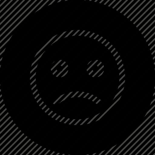 emoji, face, sad, sadness, sign, smiley icon