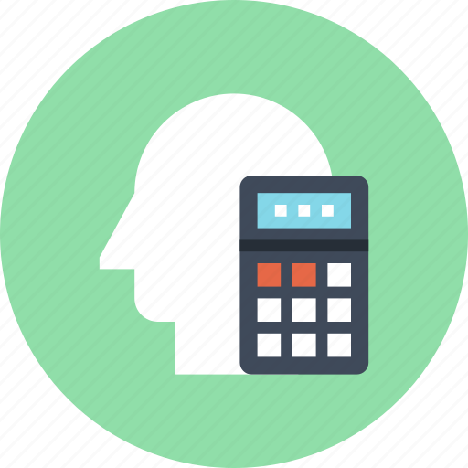accounting, business, calculator, head, human, mind, thinking icon