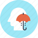 head, human, insurance, mind, protection, thinking, umbrella icon