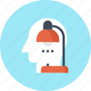 head, human, job, lamp, overtime, thinking, work icon