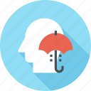 head, human, insurance, mind, protection, thinking, umbrella